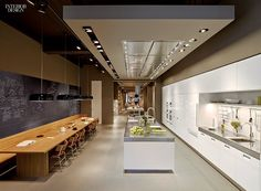 A Taste of Italy: Arclinea's New York Flagship - This kitchen vignette features Sieger Design sink fittings. Modern Kitchen Cabinets, Kitchen Dinning, Open Kitchen, Interior Design Magazine, Interior Design Kitchen, Interior Ideas, Interior Decorating, Kitchen Vignettes, Kitchen Ideas