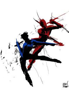 FAN ART: Nightwing VS Daredevil