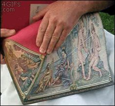 A picture painted on the edge of book pages... Yet another reason why books are the most amazing thing in the world!