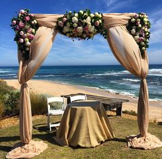 Decorit events ceremony setting @sorrento @decoritevents #ceremony #beach wedding #floral Beach Ceremony, Sorrento, Outdoor Furniture, Outdoor Decor, Hammock, Events, Table Decorations, Floral, Wedding