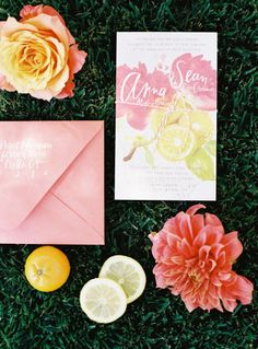 citrus watercolor invites by http://www.juliesongink.com/ Photography by Ryan Ray Photography / ryanrayphoto.com