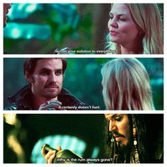 i've come to believe that Capt Hook is Capt Jack's long lost son...they both like rum, wear eyeliner, & are hot :) << He's old enough for that to work XD and it would make me extremely happy if this is true...