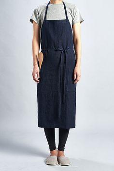 For expert full linen apron Dark Navy / Premium by aroundLINEN