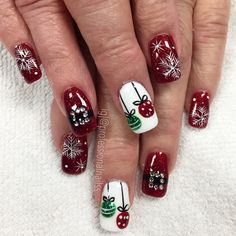 70 Pretty Festive and Winter Nail Art Designs – page 40 - Fab Wedding Dress, Nail art designs, Hair colors , Cakes Christmas Gel Nails, Xmas Nail Art, Christmas Nail Art Designs, Winter Nail Art, Holiday Nails, Winter Nails, Christmas Toes, Xmas Holidays, Spring Nails