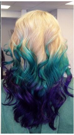Blonde green purple ombre dyed hair