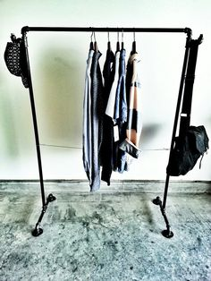 Items similar to Industrial Pipe Clothing Rack on Etsy Pipe Furniture, Industrial Furniture, Folding Furniture, Diy Clothes Rack Pipe, Clothing Racks, Diy Kleidung Upcycling, Diy Home Decor Rustic, Casual Decor, Diy Pipe