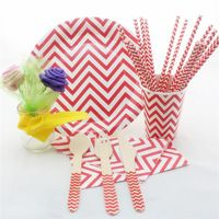 Zig Zag Red Chevron Christmas Party Tableware Set Disposable Vintage Designer Wooden Utensils Paper Straws Napkins Plates Cups Party Tableware Paper Straws Red Chevron