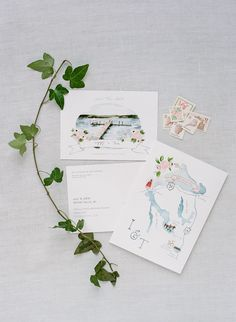 Watercolor map wedding invitation suite: Michigan Summertime Wedding on the Lake