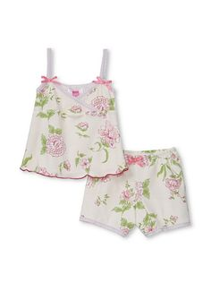 """Tank & Boy Shorts Set  $45.00 for $24.00 comes in animal print and a lovely biue floral.These adorable charmd pajama sets and lounge pieces for girls sizes 4T-7 have the sweetest graphics--dainty florals, cheetah print, cuddly animals, even toile. Plus, they're made in the USA from 100% super soft cotton. I can't get over how cute the matching eye covers are."""" -Boronia, Kids Buyer for MYHABIT"""