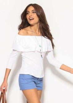 Tričko s volánovým lodičkovým výstrihom #ModinoSK #modino_style #top #offshoulders Off Shoulder Blouse, Manga, Tops, Women, Fashion, Latest Fashion, Shopping, Latest Trends, Plunging Neckline