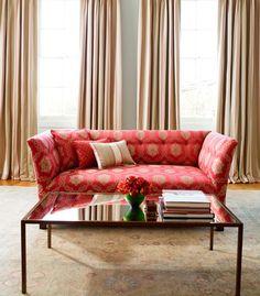 Stunning living room inspiration, love this statement red sofa. Sofa & Back Cushion - LF1509C/4 - Cotta. Curtains & Front Cushion - LF1510C/4 - Blazer. Middle Cushion - LF1512C/7 - Tea Rose.