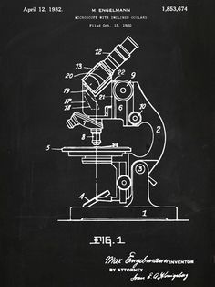 Microscope Patent Poster Original 1930 Patent by PastTensePosters
