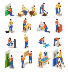 Construction Workers Isometric People #Workers, #Construction, #People, #Isometric
