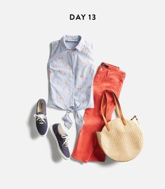 I would so wear this, never had tangerine? colored pants, but so fun. Love the shirt and the purse too.