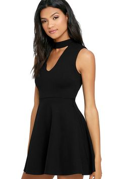 Be the life of the party in the Loving You is Easy Black Skater Dress! Medium weight stretch knit covers a darted, sleeveless bodice with a mock neck and front cutout, and full skater skirt. Hidden back zipper/hook clasp.