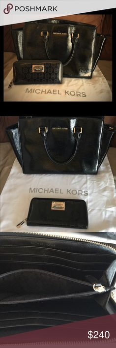 Michael Kors matching purse and wallet Authentic Michael Kors Selma Black Patent Saffiano Leather Satchel with matching Michael Kors Black Patent Leather Wallet. Golden hardware. Barely use it for 2 weeks! Excellent conditions! Michael Kors Bags Satchels