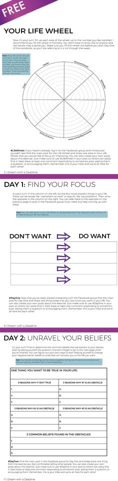 FREE Personal Development Goal Setting Workbook - 26 pages - 5 Day Challenge & 2 Bonus Exercises Create a life wheel