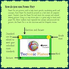What are Power Pix? Power Pix are posters that are used to help teach specific vocabulary words. Each Power Pix includes a question, answer. Whole Brain Teaching, Help Teaching, Teaching Science, Teaching Ideas, Science Resources, Science Ideas, Science Projects, Science Experiments, Teaching Resources