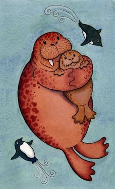 Cute, but penguins ain't arctic. @Hilary S Cantor Walrus Hug Print  Arctic Sea Life Penguins Ocean by SepiaLepus, $19.00
