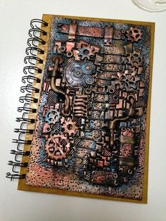 Perfect for the Steampunk Journalist! Steampunk Book, Steampunk Crafts, Creative Artwork, Creative Crafts, Custom Sketchbook, Clay Box, Biscuit, Art For Art Sake, Polymer Clay Art