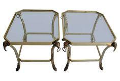 Brass Ram's Head Side Tables, Pair $1499 One Kings Lane