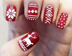 With a burgundy base and a white lacquer, your nails will scream holiday cheer. Try out a few different holiday designs with the help of Sally Hansen stencils.