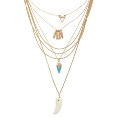 Forever 21 Layered Pendant Necklace (25 BRL) ❤ liked on Polyvore featuring jewelry, necklaces, feather pendant necklace, lobster clasp charms, stone pendants, charm pendant necklace and chain pendants