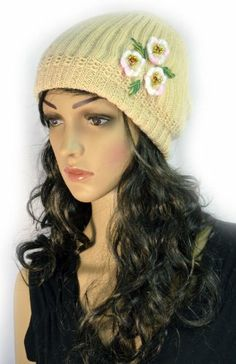 Tan Hand Knit Crochet Slouchy Winter Beanie Cap with Flower Trio Accent KENGDO,http://www.amazon.com/dp/B00I827GX6/ref=cm_sw_r_pi_dp_c-K.sb05QXME0K7K