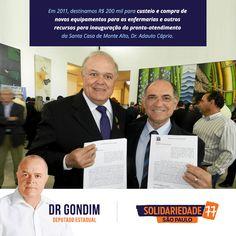 Em 2011, destinamos R$ 200 mil para custeio e compra de novos equipamentos para as enfermarias e outros recursos para inauguração do pronto atendimento #FichaLimpa #77000 #Saúde #Social #DrGondim #votedrgondim77000