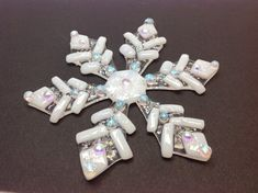 Fused Glass Christmas Ornament White Snowflake by CDChilds on Etsy