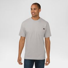 Dickies Men's Big & Tall Cotton Heavyweight Short Sleeve Pocket T-Shirt- Heather Gray Xxxl
