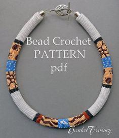 """Patrón de ganchillo collar """"Safari"""" / cuentas del ganchillo patrón / cuerda de Crochet pattern / patrón solamente"""