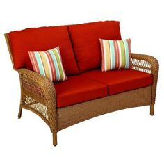Martha Stewart Living Charlottetown Natural All-Weather Wicker Patio Loveseat with Quarry Red Cushion-65-909556/3 at The Home Depot