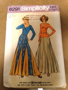 1974 Simplicity Maxi Skirt Pattern Pull Over by TheIDconnection