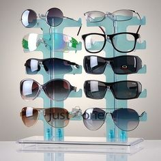 Blue Acrylic Display Retail Show Stand Holder Rack f 10 Pair Glasses Sunglasses