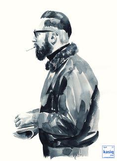 watercolor on paper by kasiq . . . . . . .  #kasiq #fashion #sketch #style #sight #watercolor #drawing #artwork #color #portrait #illustration #painting #일러스트 #패션 #이정우 #fashiondrawing #black #razor #rayban #fashionillustration#streetfashion