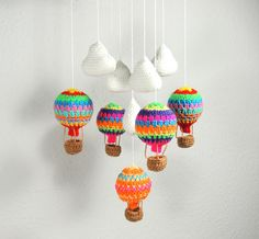 Crochet Mobile Hot Air Balloon Clouds Baby Nursery £25.00