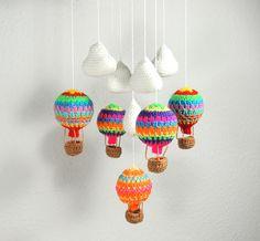 Crochet Mobile Hot Air Balloon Clouds Baby Nursery £25.00