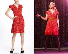 Shooting scenes with Rachel, Quinn, and Santana, we had a host of delicious new outfits on the set of Glee today. Quinn is, as always, wearing a pretty Anthropologie dress, with her favorite wedge heels. Anthropologie Basque Floral Dress - $79.95 (50% off!) Worn with: J. Crew belt, Anthropologie wedges