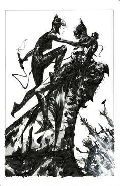 """Batman and Catwoman Jae Lee, in Dean Abraham's The Bat and The Cat Comic Art Gallery Room Catwoman Y Batman, I Am Batman, Batman Begins, Batgirl, Joker, Comic Book Characters, Comic Character, Comic Books Art, Jae Lee"