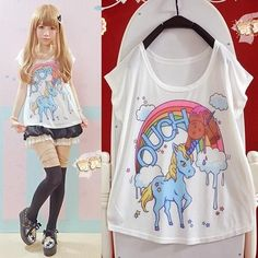 2015 Harajuku New lovely and Colorful Rainbow Pony Cartoon Sweet Girl T-shirt #Unbranded #PersonalizedTee