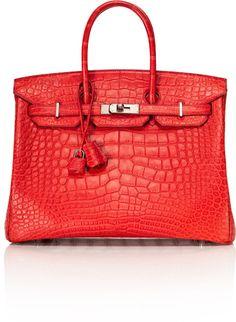 Hermes ~ Vintage 35cm Rouge Indienne Matte Alligator Birkin