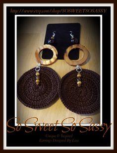 Chocolate crochet earrings
