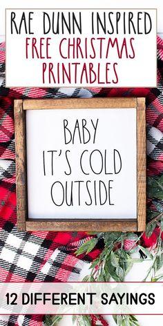 Rae Dunn Inspired Printable Christmas Signs with Cut Files, DIY Event, Diy Xmas, Christmas Projects, Christmas Crafts, Cricut Christmas Ideas, Diy Holiday Gifts, Holiday Signs, Christmas Stuff, Holiday Ideas, Merry Christmas
