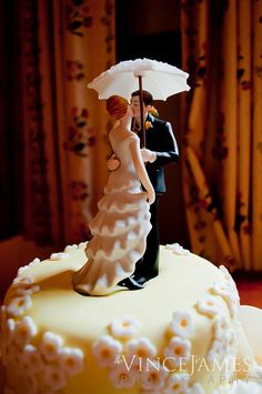 Vintage Cake Topper w Lace Ruffled dress, parasol and sweetheart pose