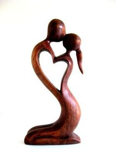 "Wood carving Amazon.com: Bali Art State, Lovers Kiss Passion Abstract Sculpture- 16"" Collectors Quality: Home & Kitchen"