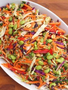 Asian slaw - 25 Stars! This is DELICIOUS! The ginger-peanut dressing is a keeper for other recipes as well. Took less than 15 minutes to pull together with bagged slaw and shredded carrots. I added tofu to give it a bit more protein and have a meatless meal. Just terrific!
