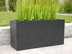 Pflanztrog aus Fiberglas d. BUNDESGARTENSCHAU, Blumentrog, Pflanzkübel, Blumenkasten (L80 x B30 x H40 cm, schwarz-anthrazit): Amazon.de: Garten