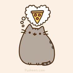 Pusheen cat loves pizza! ( like me...)