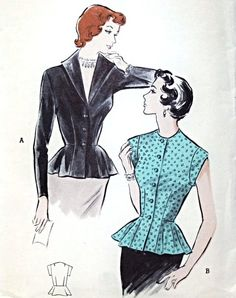 1950s Lovely Overblouse Pattern Butterick 5456 Stunning Wing Collar Plunging Neckline Version Perky Flared Peplum Day or Evening Blouse Bust 32 Vintage Sewing Pattern